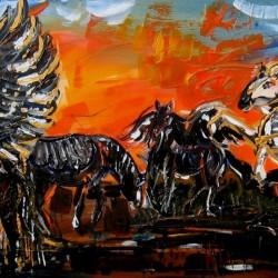 Cheirón v soumraku splozený, akryl, plátno, 170x55cm, 2012